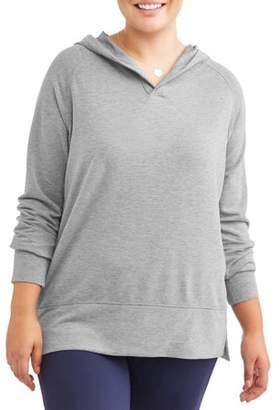 Avia Women's Plus Size Hooded Tunic Sweatshirt