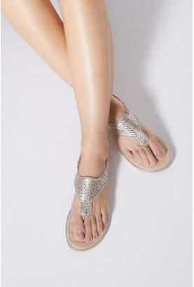 Quiz Bronze Diamante Flat Sandals