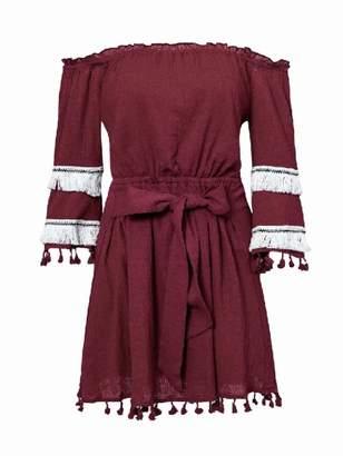 Goodnight Macaroon 'Kaitlyn' Off the Shoulder Tassel Tied Waist Mini Dress (3 Colors)