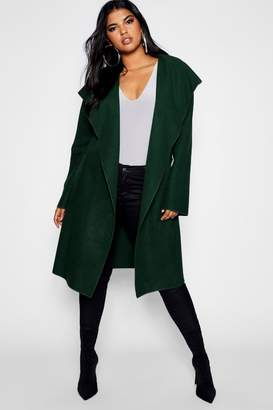 boohoo Plus Belted Shall Collar Pocket Coat