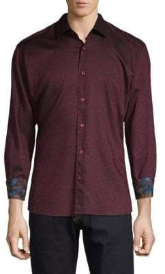 Printed Long-Sleeve Button-Down Shirt