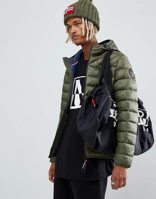 Napapijri Aerons hooded quilted puffer jacket in khaki