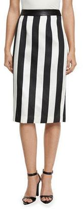 Kendall + Kylie Striped Leather-Trim Pencil Skirt $94 thestylecure.com