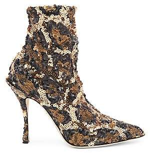 Dolce & Gabbana Women's Sequined Leopard Booties