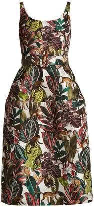 Oscar de la Renta Jungle-jacquard scoop-neck dress