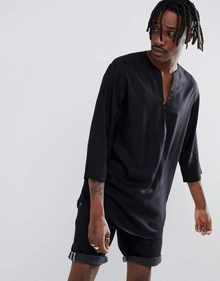 Asos DESIGN Regular Fit Longline Viscose Shirt In Black With V Neck