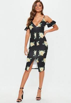 Missguided Black Floral Cold Shoulder Midi Dress