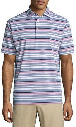 Peter Millar Wheaton Striped Performance Jersey Polo Shirt, Navy/Red/White $85 thestylecure.com