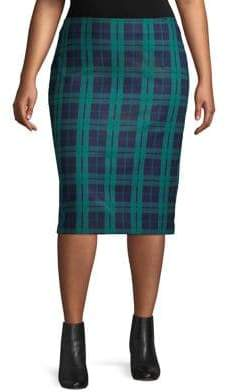 Lord & Taylor Plus Plaid Midi Skirt
