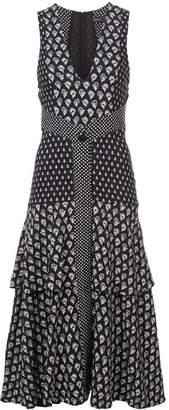 Proenza Schouler Block Print Sleeveless V-Neck Dress