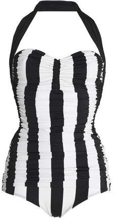 Ruched Striped Halterneck Swimsuit