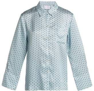 Asceno - Silk Pyjama Top - Womens - Blue Print