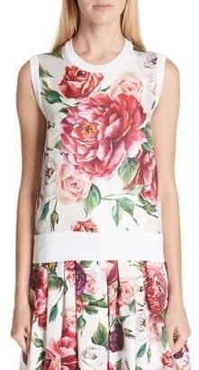 Dolce & Gabbana Peony Print Silk Shell