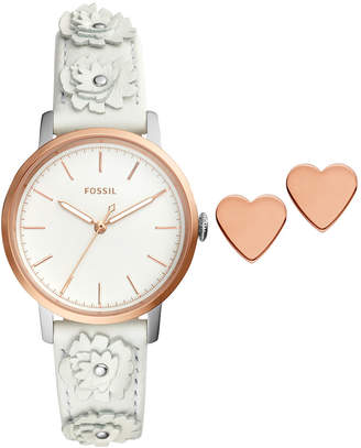 Fossil Women's Neely White Leather Strap Watch Box Set 34mm