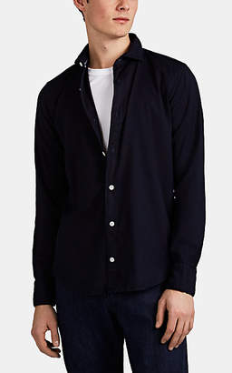 Eleventy Men's Basket-Weave Cotton Button-Front Shirt - Navy