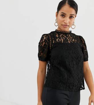 Fashion Union Petite short sleeved lace top