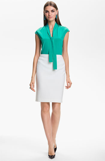St. John Milano Knit Pencil Skirt Bright White 8