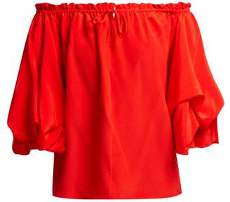 Diane von Furstenberg Georganne Off The Shoulder Silk Top - Womens - Red