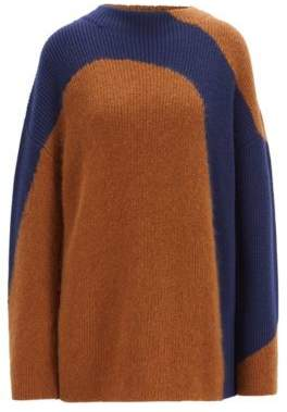 BOSS Hugo Relaxed-fit sweater in a wool colorblocking S Patterned