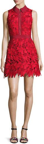 Alice + OliviaAlice + Olivia Ellis Guipure Lace Sleeveless Zip-Front Dress, Red