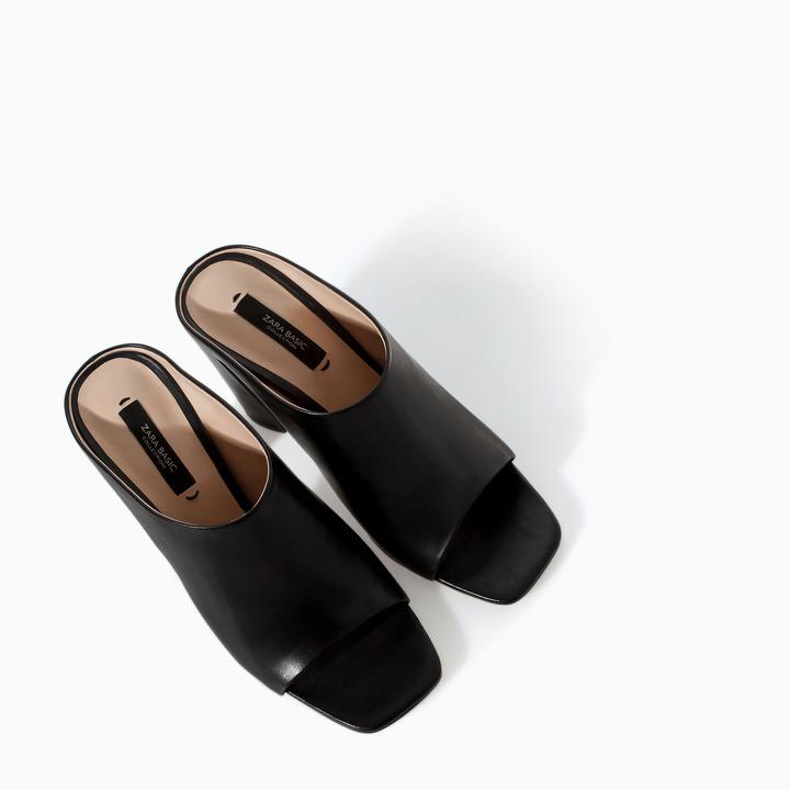 Zara Leather High Heel Mules