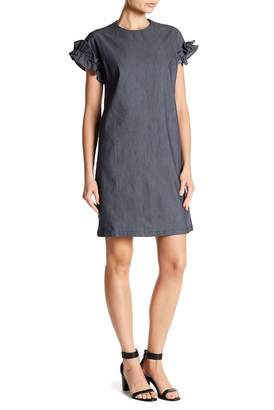 London Times Ruffle Cap Sleeve Denim Dress