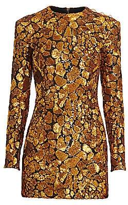 Balmain Women's Embellished Giraffe Print Mini Dress