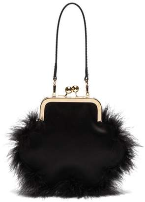 Simone Rocha Feather Trimmed Satin Flower Bag - Womens - Black