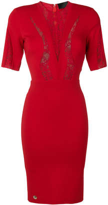 Philipp Plein fitted lace insert dress