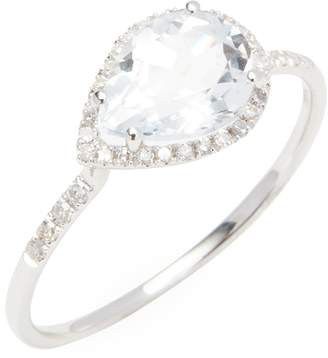 Meira T Women's White Gold Topaz Ring