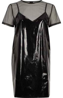 River Island Womens Black vinyl and mesh T-shirt dress