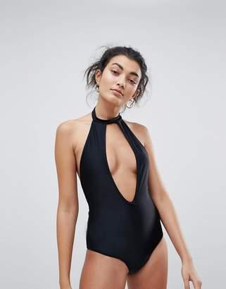 Brave Soul Choker Neck Plunge Swimsuit
