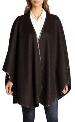 Sofia Cashmere Reversible Leather Trim Cape