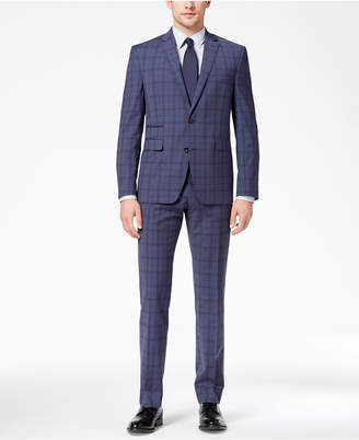 Vince Camuto Men's Coolmax Slim-Fit Stretch Blue Windowpane Suit