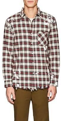 NSF Men's Distressed Plaid Cotton Shirt