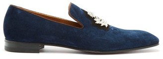 Christian Louboutin Dandelion Crystal Embellished Suede Loafer - Mens - Blue