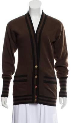Chanel Cashmere Striped Cardigan Brown Cashmere Striped Cardigan