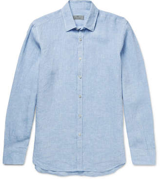 Canali Slub Linen Shirt - Men - Light blue