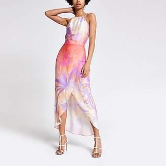 River Island Pink print maxi skirt