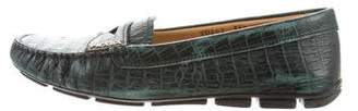 Prada Crocodile Round-Toe Loafers