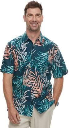 Men's Havanera Short Sleeve Linen Water Color Tropical Print Button-Down Shirt