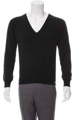Prada V-Neck Rib Knit-Trimmed Sweater