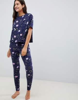 Asos DESIGN moon in space tee and legging pyjama set