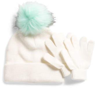 Girls Faux Fur Pom Pom Hat & Glove Set