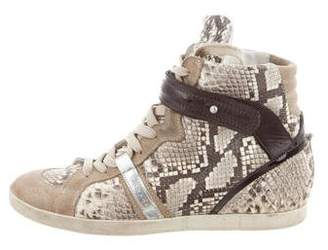Barbara Bui Snakeskin High-Top Sneakers