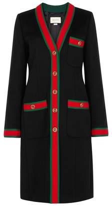 Gucci Black Signature-striped Wool Coat