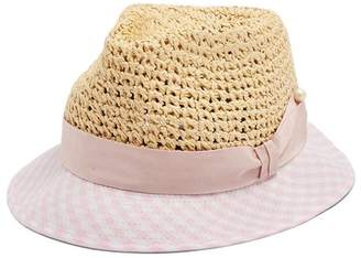 Federica Moretti Dia Gingham Brim Straw Hat - Womens - Pink Multi