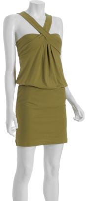 Nicole Miller olive jersey blouson mini dress