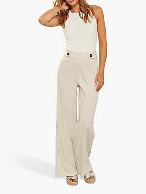 9f3dd1e54f78 Mint Velvet Striped Wide Leg Buttoned Tab Trousers