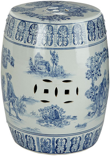 Chinese Toile Ceramic Stool